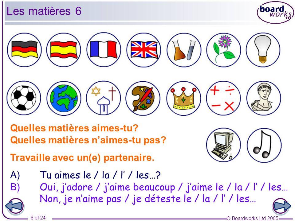 Les matières 6 Quelles matières aimes-tu
