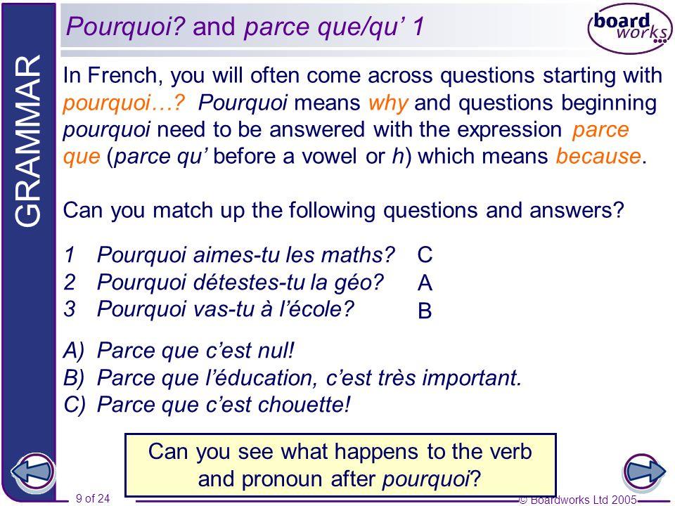 Pourquoi and parce que/qu' 1