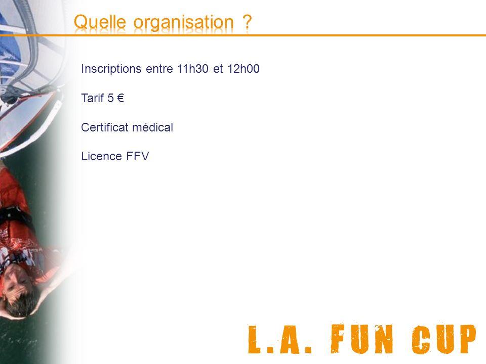 Quelle organisation Inscriptions entre 11h30 et 12h00 Tarif 5 €