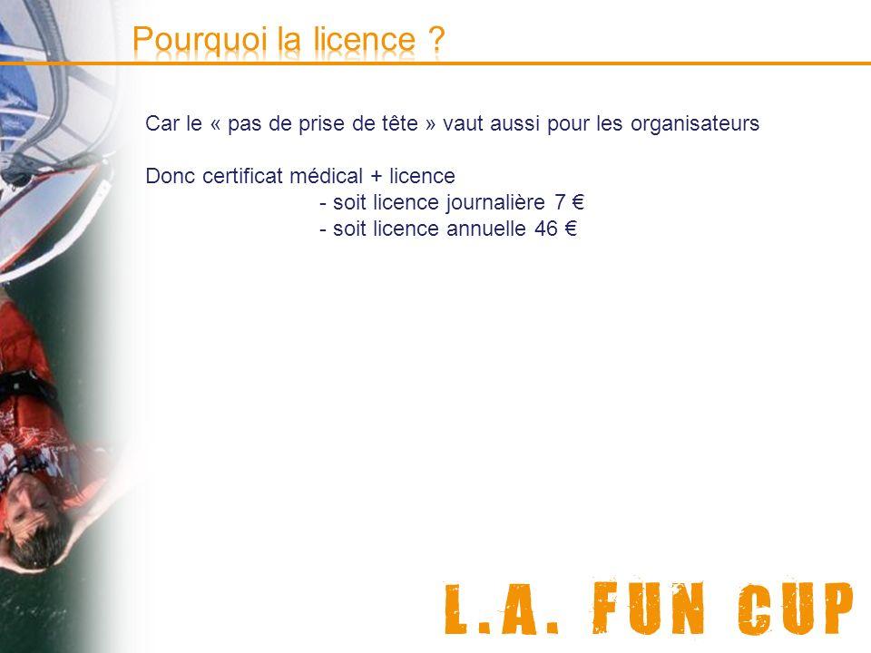 Pourquoi la licence Car le « pas de prise de tête » vaut aussi pour les organisateurs. Donc certificat médical + licence.