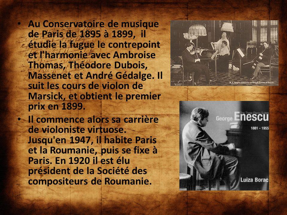 Au Conservatoire de musique de Paris de 1895 à 1899, il étudie la fugue le contrepoint et l harmonie avec Ambroise Thomas, Théodore Dubois, Massenet et André Gédalge. Il suit les cours de violon de Marsick, et obtient le premier prix en 1899.