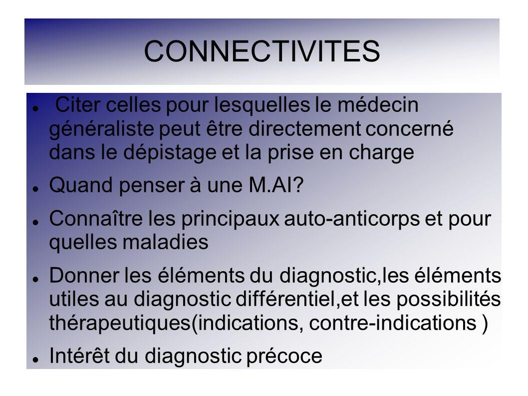 CONNECTIVITES Citer celles pour lesquelles le médecin généraliste peut être directement concerné dans le dépistage et la prise en charge.