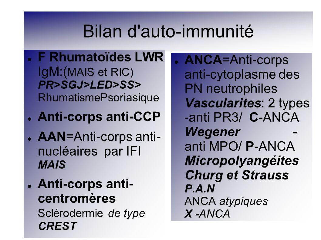 Bilan d auto-immunité F Rhumatoïdes LWR IgM:(MAIS et RIC) PR>SGJ>LED>SS> RhumatismePsoriasique. Anti-corps anti-CCP.
