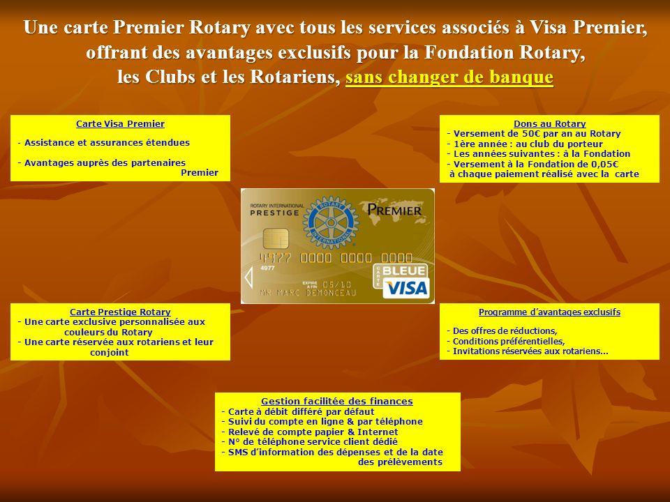 offrant des avantages exclusifs pour la Fondation Rotary,