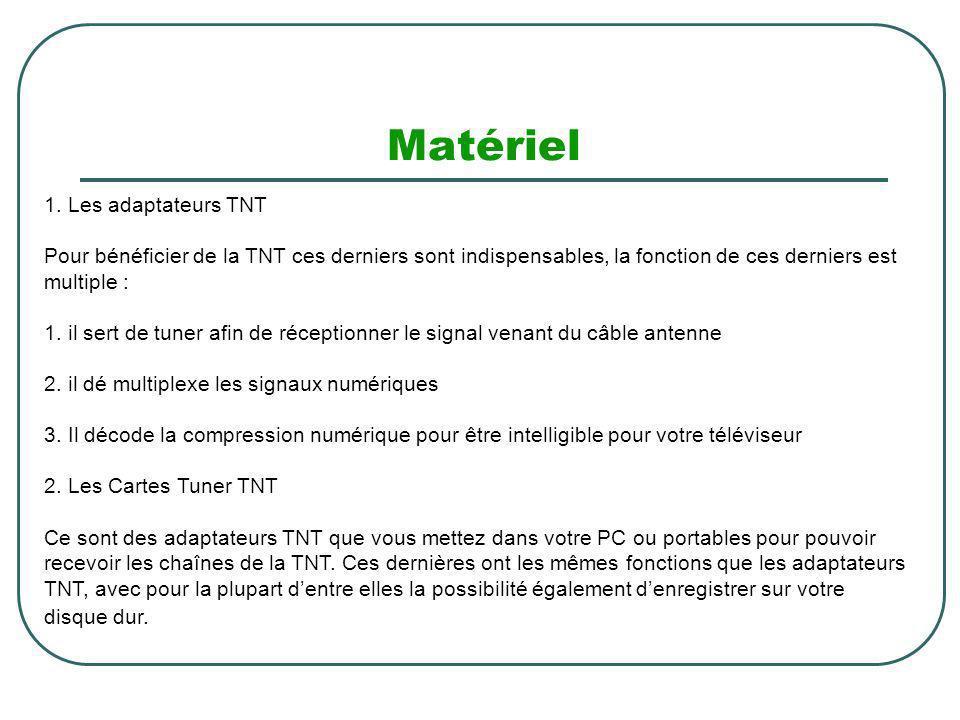 Matériel 1. Les adaptateurs TNT