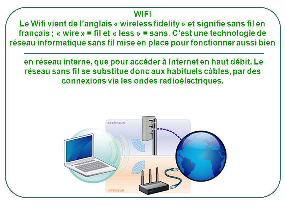 WIFI Le Wifi vient de l'anglais « wireless fidelity » et signifie sans fil en français ; « wire » = fil et « less » = sans.