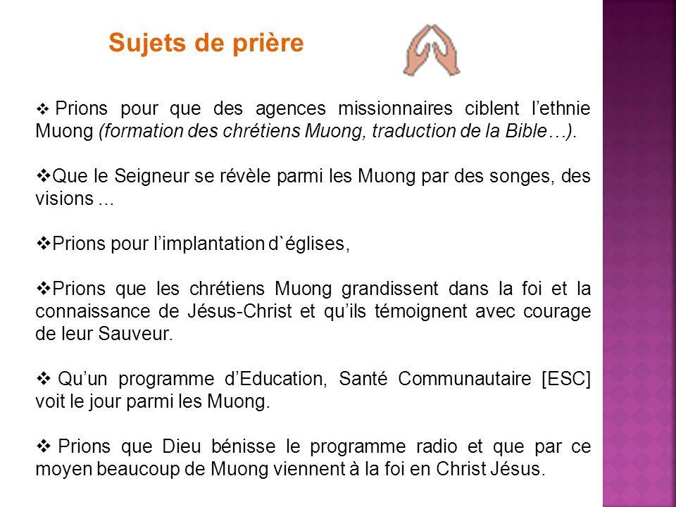 Sujets de prière Prions pour que des agences missionnaires ciblent l'ethnie Muong (formation des chrétiens Muong, traduction de la Bible…).
