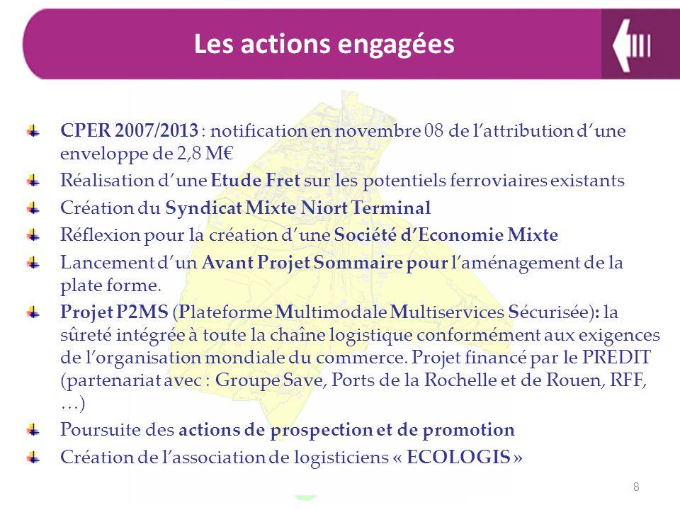 Les actions engagéesCPER 2007/2013 : notification en novembre 08 de l'attribution d'une enveloppe de 2,8 M€