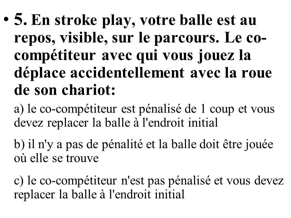 5. En stroke play, votre balle est au repos, visible, sur le parcours