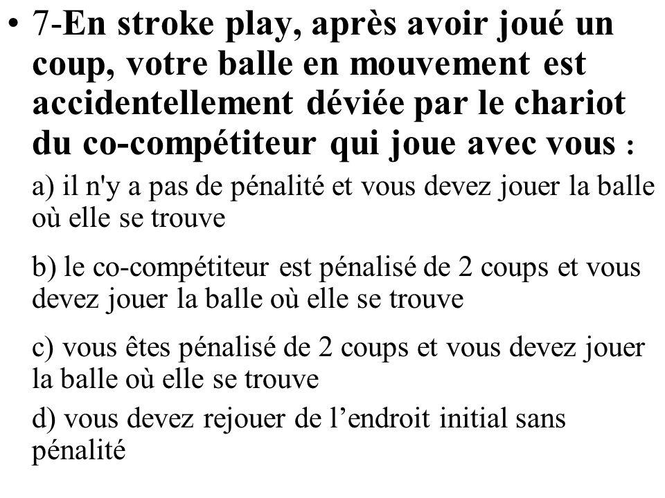 7-En stroke play, après avoir joué un coup, votre balle en mouvement est accidentellement déviée par le chariot du co-compétiteur qui joue avec vous :