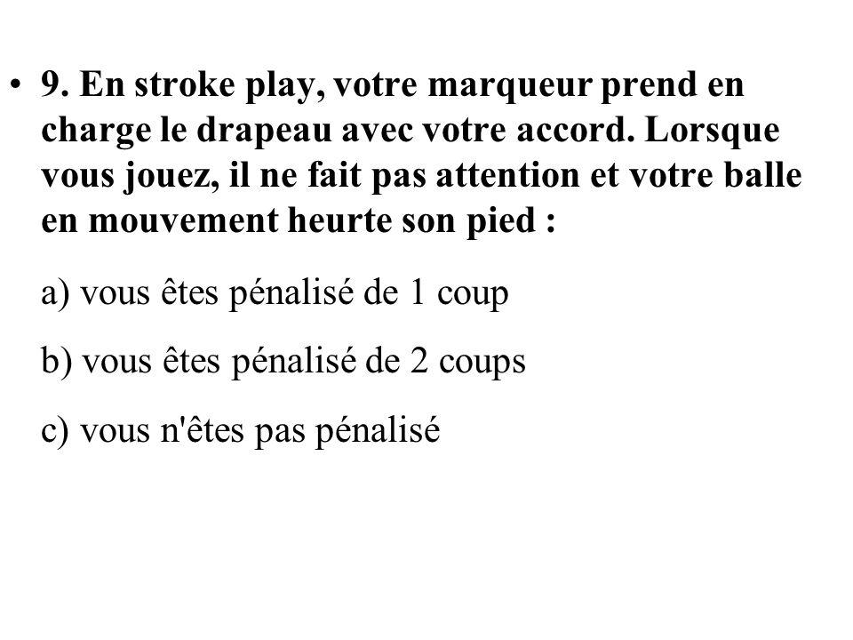 9. En stroke play, votre marqueur prend en charge le drapeau avec votre accord. Lorsque vous jouez, il ne fait pas attention et votre balle en mouvement heurte son pied :