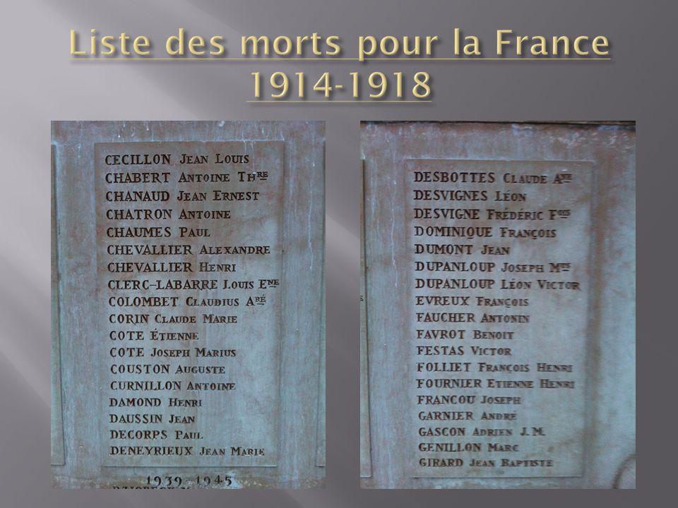 Liste des morts pour la France 1914-1918
