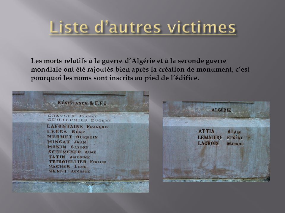 Liste d'autres victimes