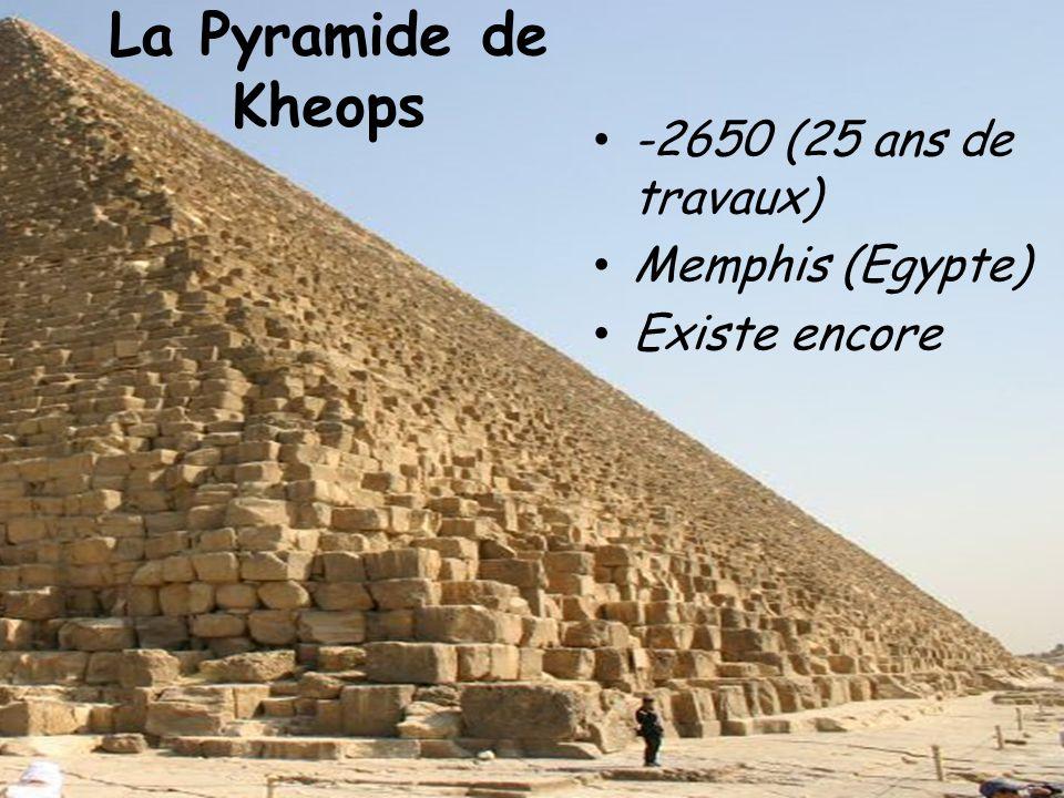 La Pyramide de Kheops -2650 (25 ans de travaux) Memphis (Egypte)