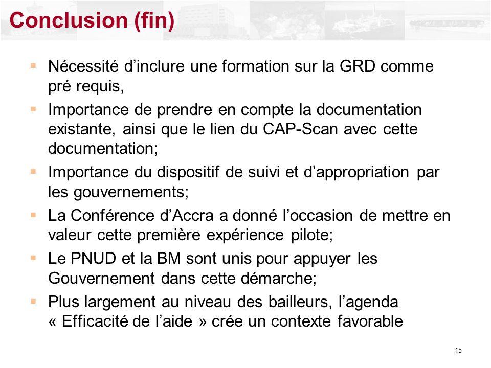 Conclusion (fin) Nécessité d'inclure une formation sur la GRD comme pré requis,