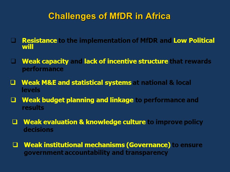 Challenges of MfDR in Africa