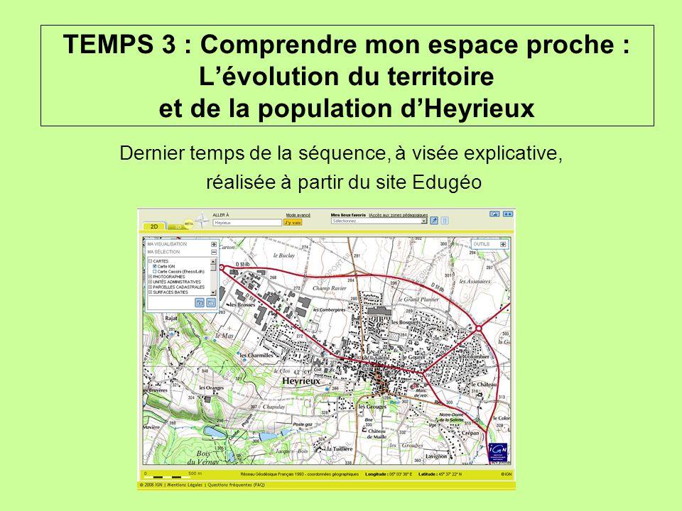 TEMPS 3 : Comprendre mon espace proche : L'évolution du territoire et de la population d'Heyrieux