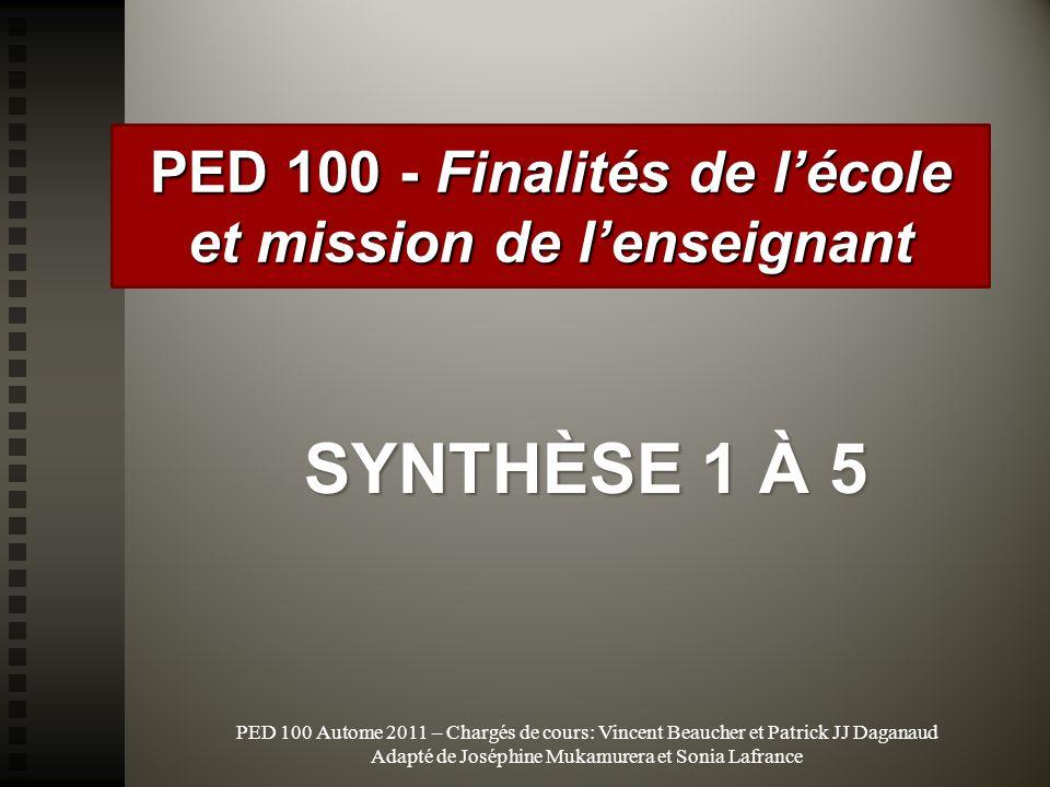 PED 100 - Finalités de l'école et mission de l'enseignant