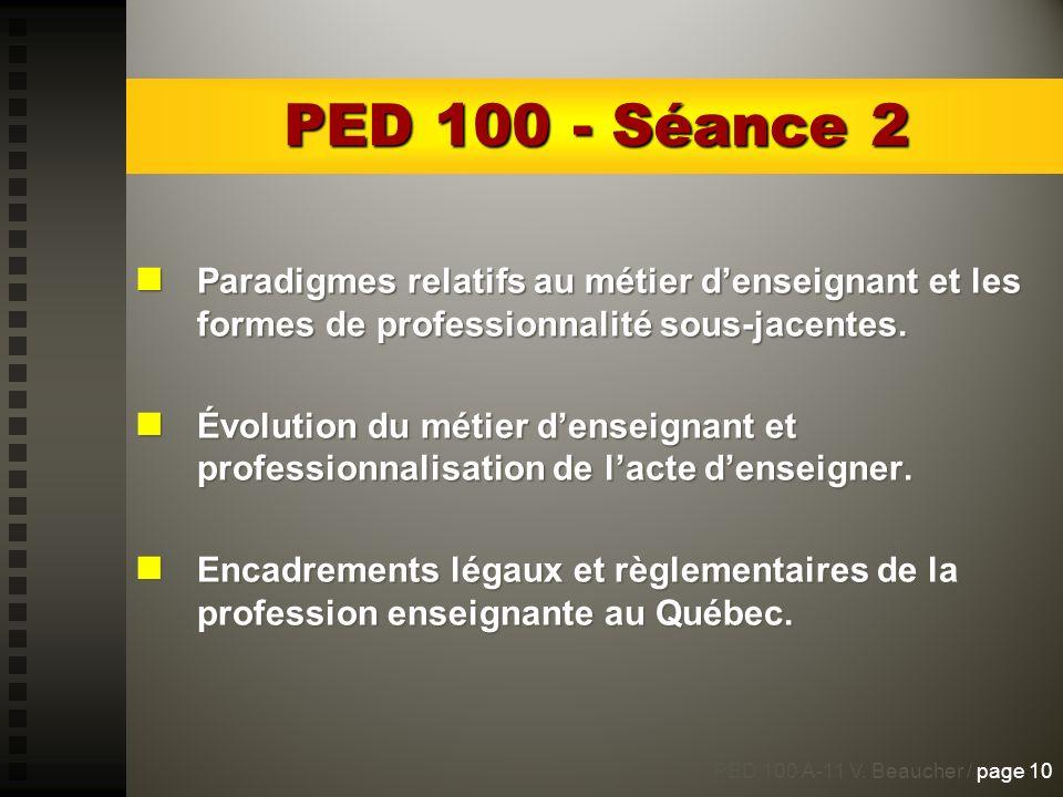 PED 100 - Séance 2 Paradigmes relatifs au métier d'enseignant et les formes de professionnalité sous-jacentes.