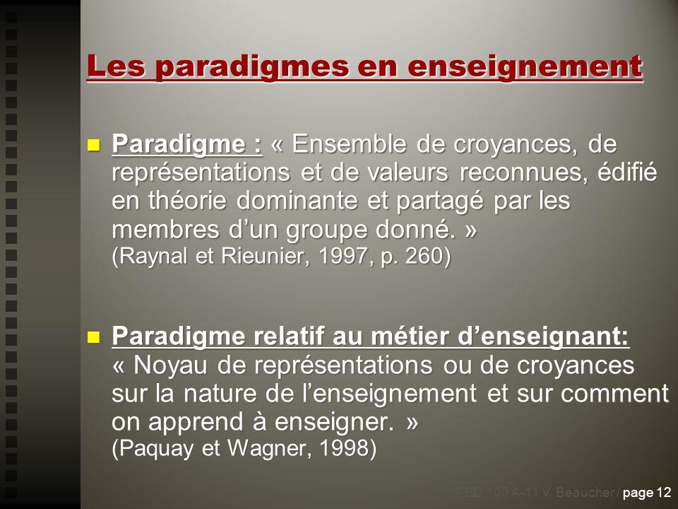 Les paradigmes en enseignement