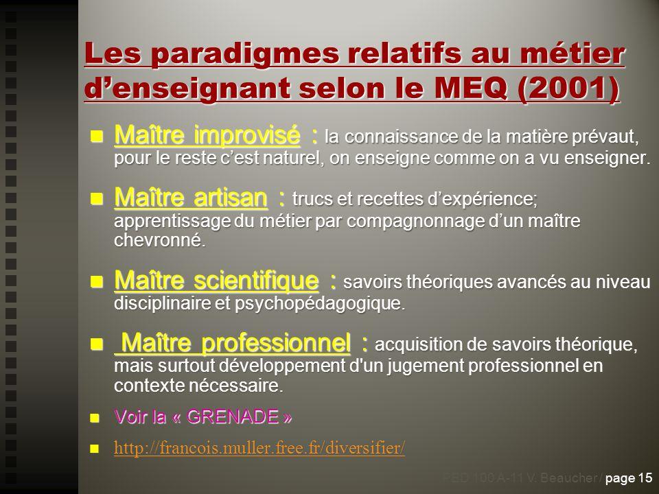 Les paradigmes relatifs au métier d'enseignant selon le MEQ (2001)