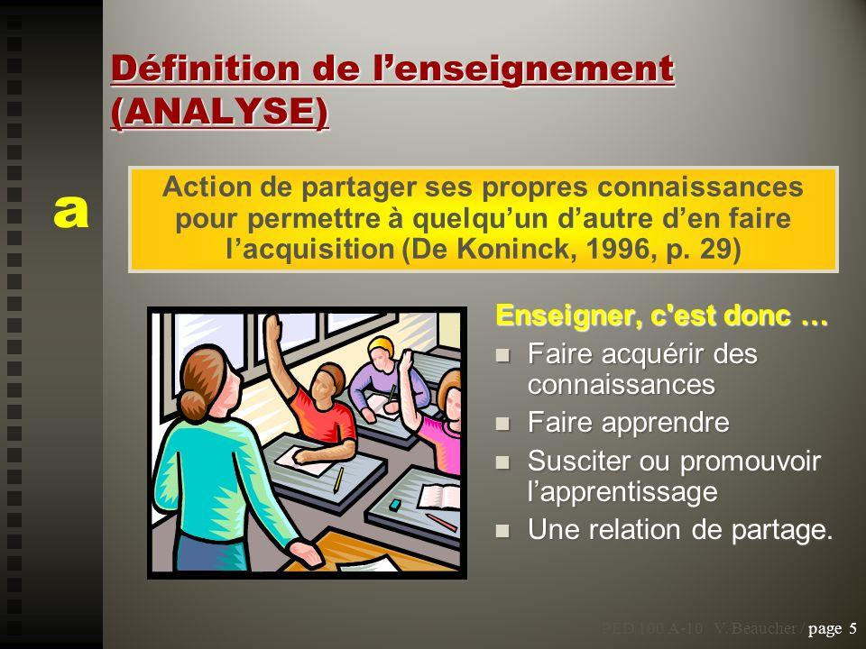 Définition de l'enseignement (ANALYSE)