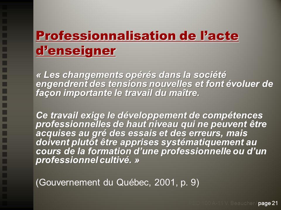 Professionnalisation de l'acte d'enseigner