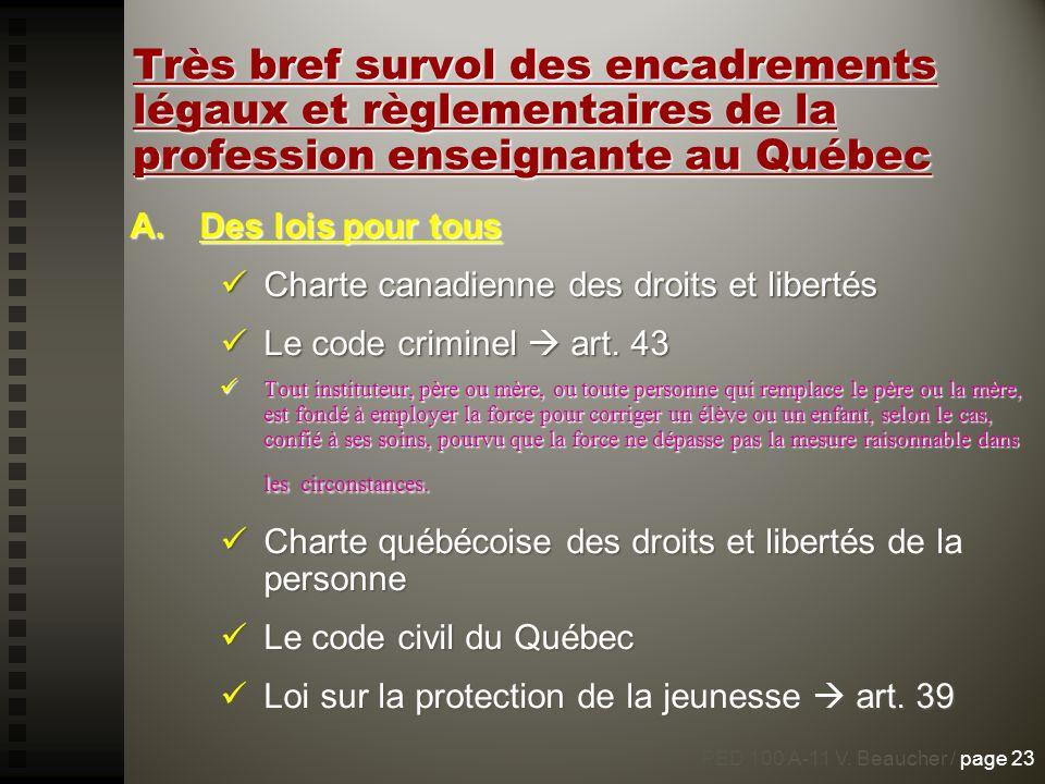Très bref survol des encadrements légaux et règlementaires de la profession enseignante au Québec
