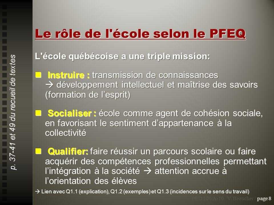 Le rôle de l école selon le PFEQ