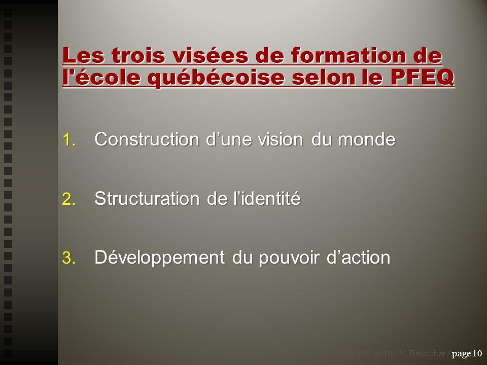Les trois visées de formation de l école québécoise selon le PFEQ