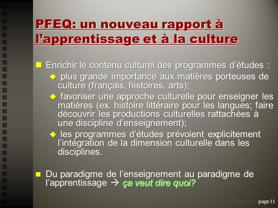 PFEQ: un nouveau rapport à l'apprentissage et à la culture