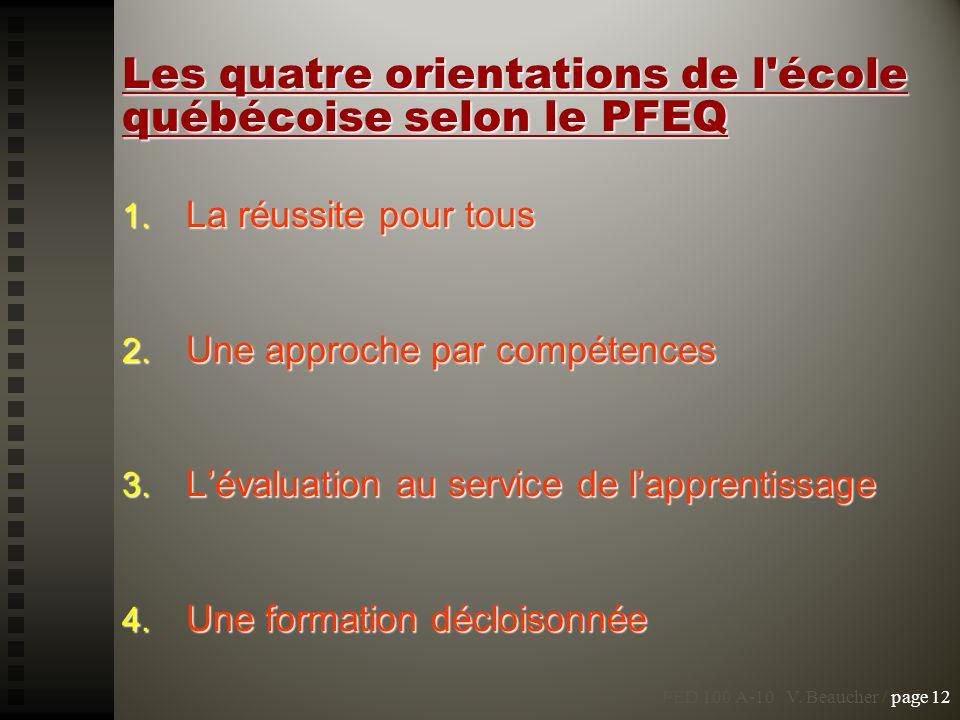 Les quatre orientations de l école québécoise selon le PFEQ