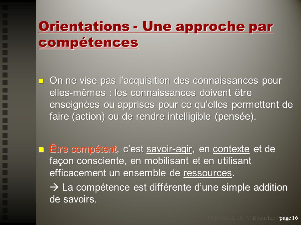 Orientations - Une approche par compétences