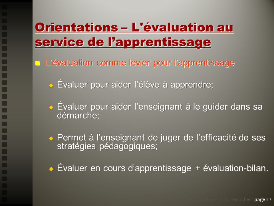 Orientations – L évaluation au service de l'apprentissage
