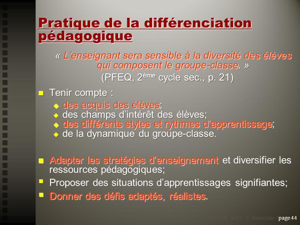 Pratique de la différenciation pédagogique