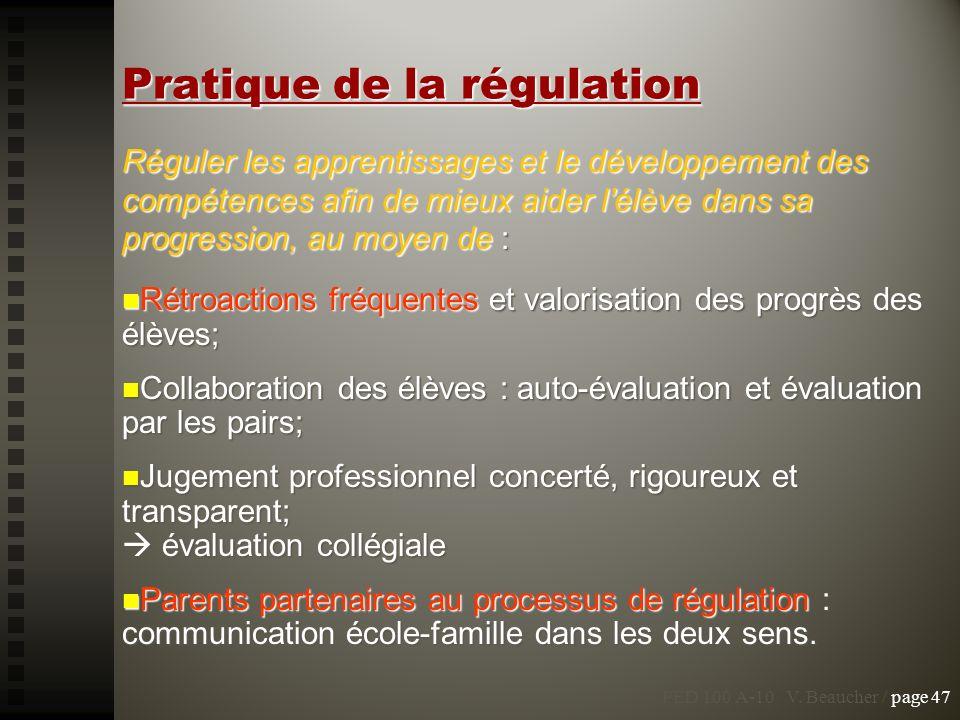 Pratique de la régulation