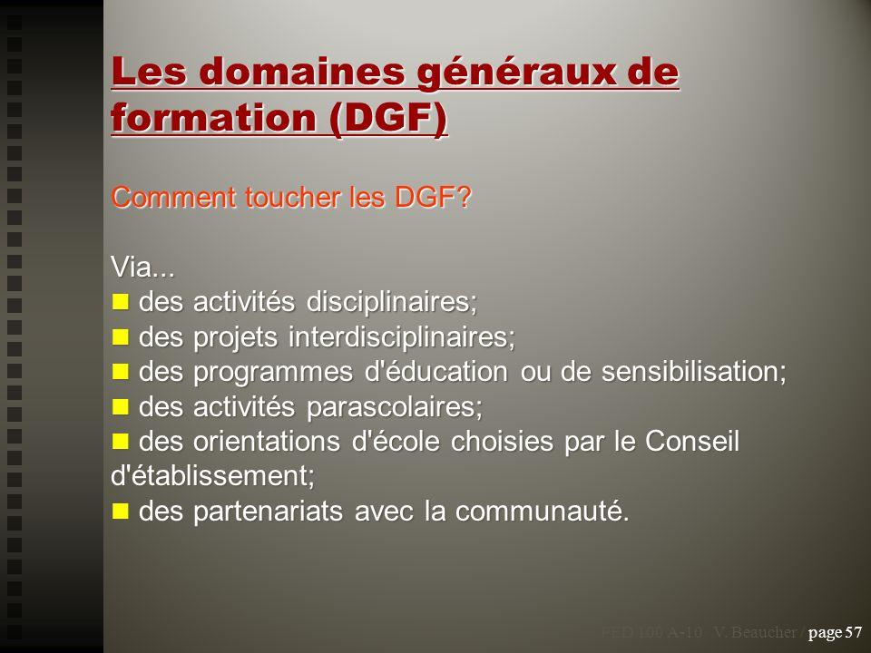 Les domaines généraux de formation (DGF)