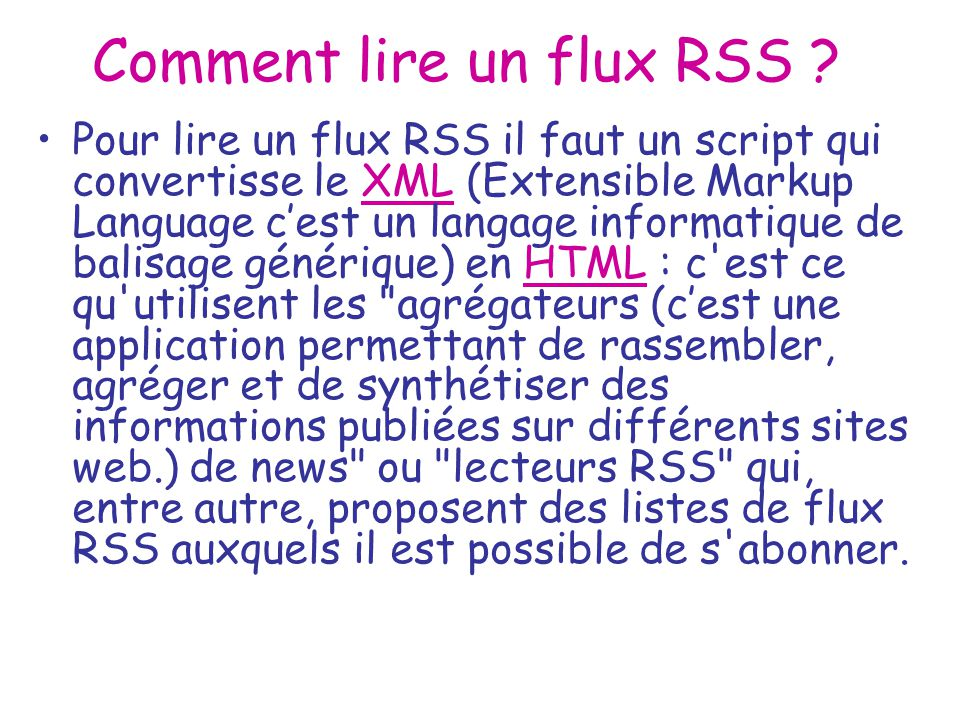 Comment lire un flux RSS