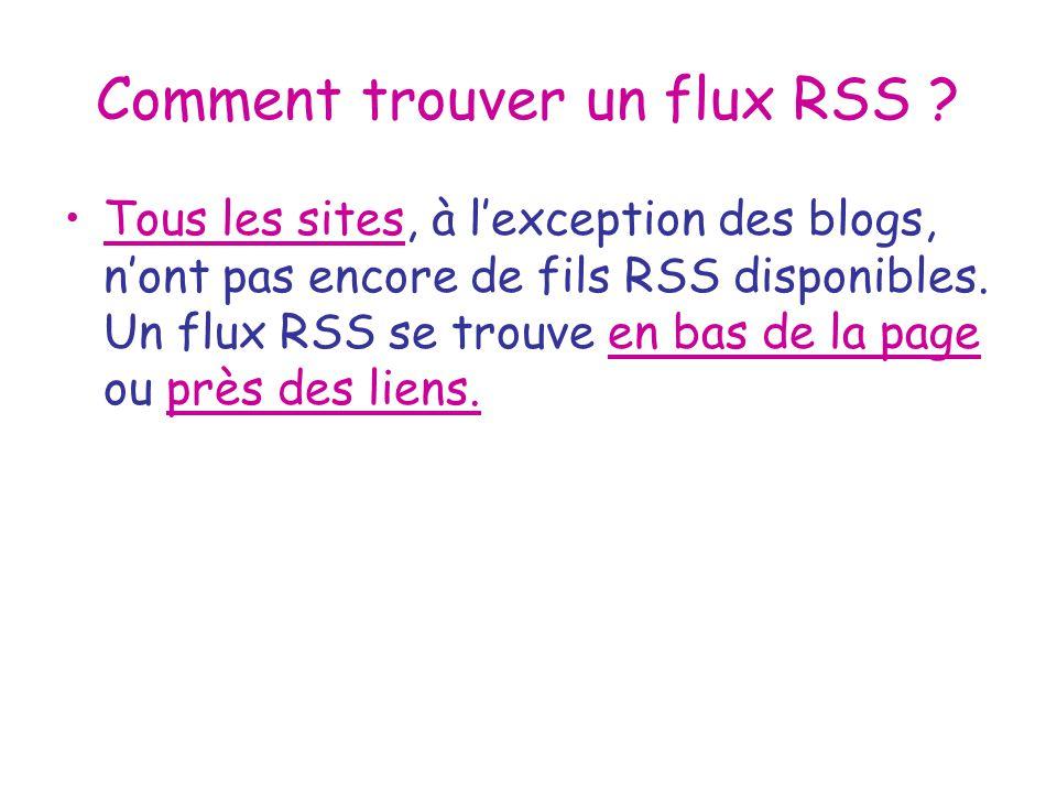 Comment trouver un flux RSS