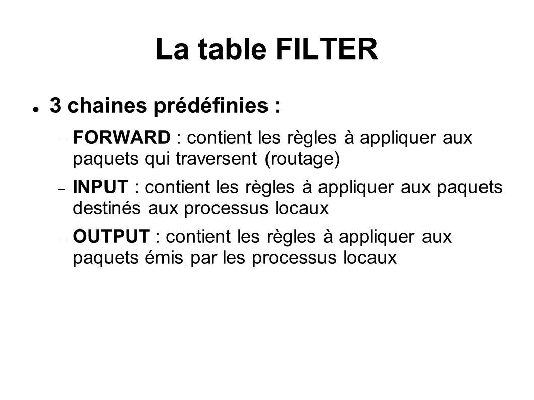 La table FILTER 3 chaines prédéfinies :
