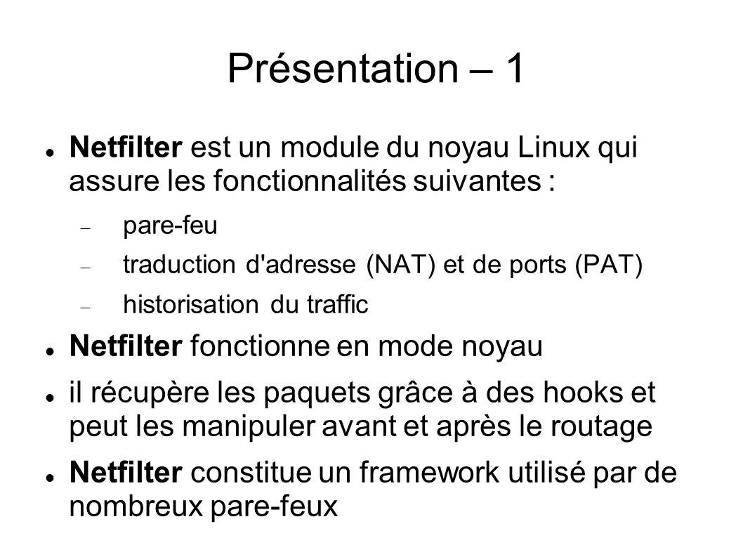 Présentation – 1 Netfilter est un module du noyau Linux qui assure les fonctionnalités suivantes :
