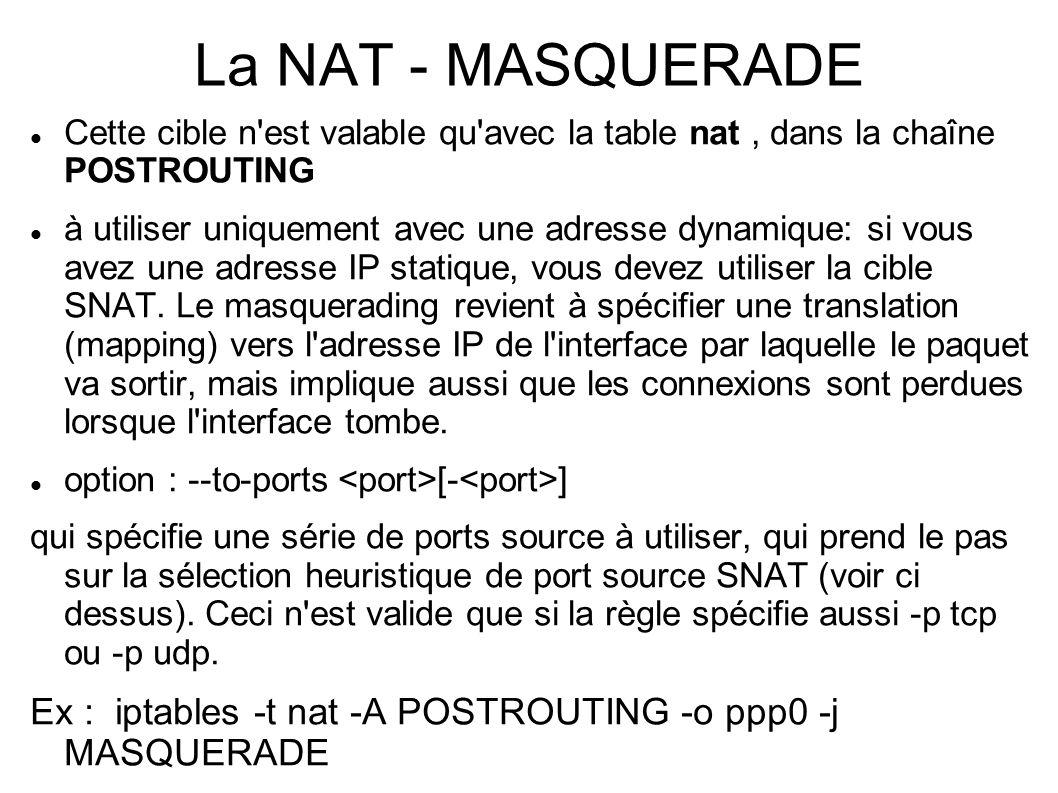 La NAT - MASQUERADE Cette cible n est valable qu avec la table nat , dans la chaîne POSTROUTING.