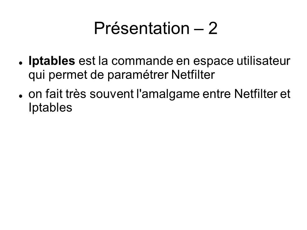 Présentation – 2 Iptables est la commande en espace utilisateur qui permet de paramétrer Netfilter.