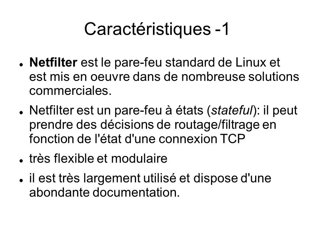 Caractéristiques -1 Netfilter est le pare-feu standard de Linux et est mis en oeuvre dans de nombreuse solutions commerciales.