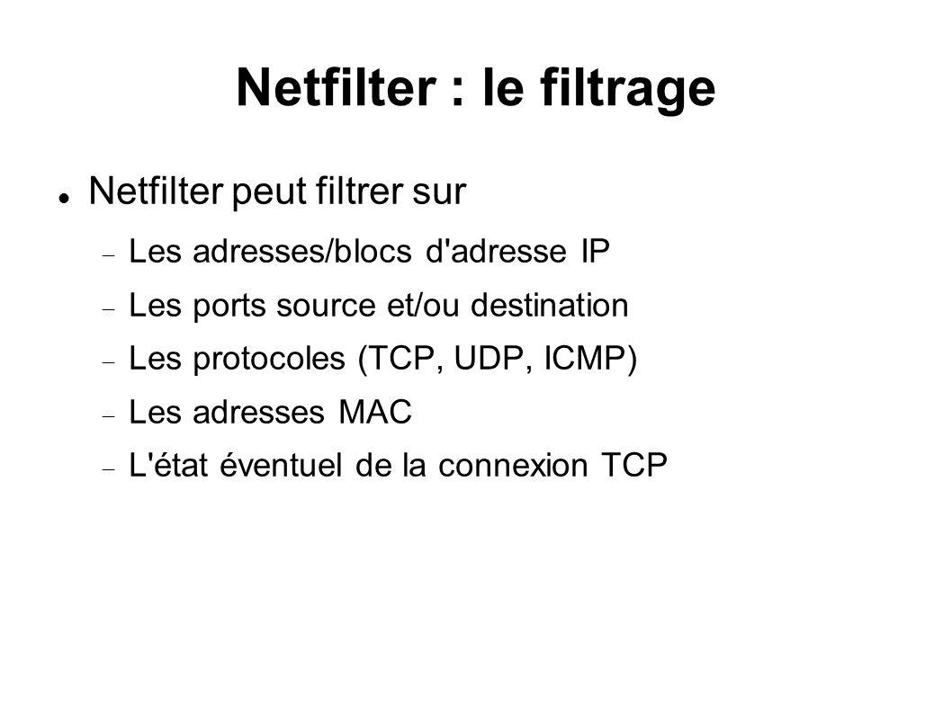 Netfilter : le filtrage