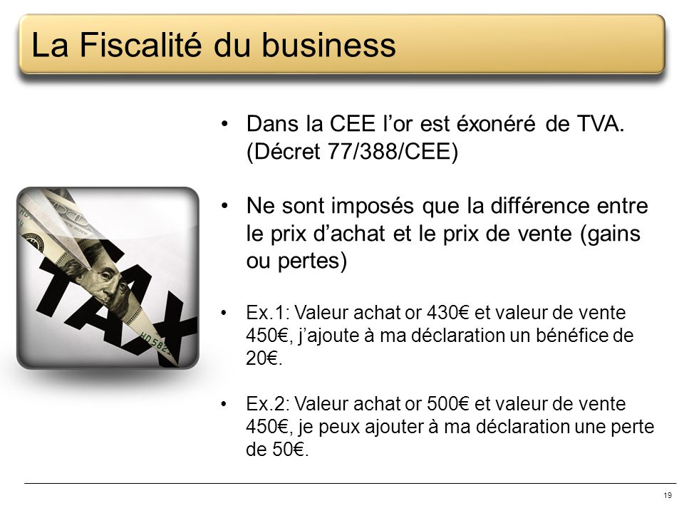 La Fiscalité du business