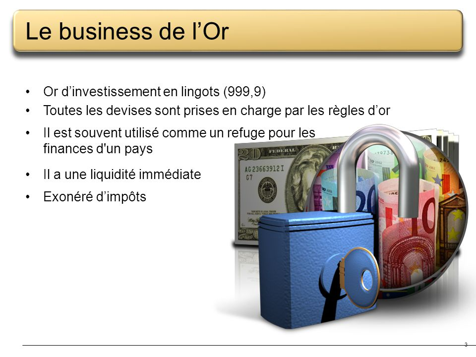 Le business de l'Or Or d'investissement en lingots (999,9)