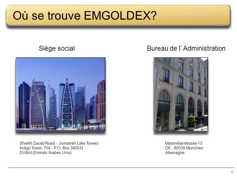 Où se trouve EMGOLDEX Siège social Bureau de l' Administration