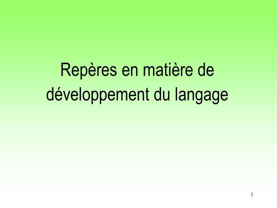 Repères en matière de développement du langage