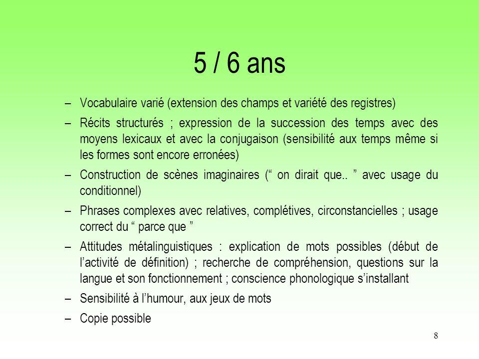 5 / 6 ans Vocabulaire varié (extension des champs et variété des registres)